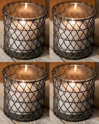 Lot of Four  Classic- Harriett Wire - Small Votive Candle Holder - with Glass