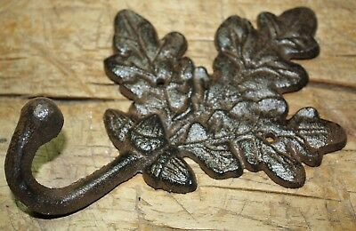 3 Cast Iron Antique Style Rustic OAK LEAF Coat Hooks Hat Hook Rack Towel Acorn