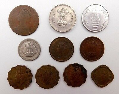 Lot of India 1892 1940 1952 1959 2000 2007 1/4 Anna 1/2 & 1 Pice 5 Rupee Coin