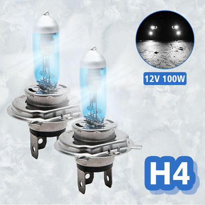 2PCS H4 Headlight Globes Car Head Light Bulbs 100W DC12V Xenon Super White