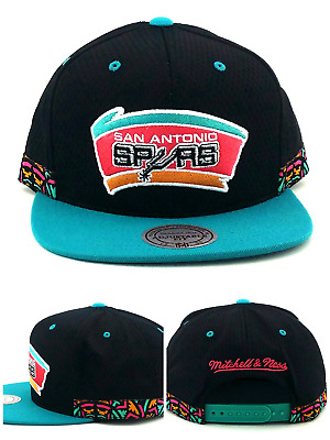 the latest 2463a 67083 San Antonio Spurs New Mitchell   Ness Jersey Black Teal Era Snapback Hat Cap