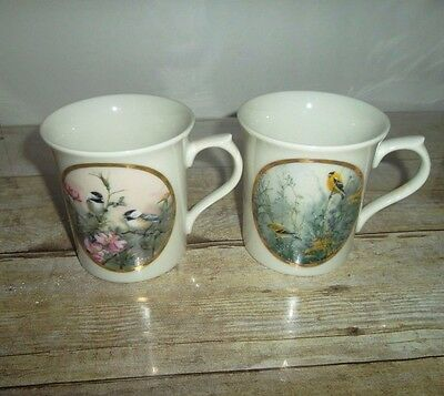 2 LENOX Nature's Collage Bird Mugs Limited Edition Catherine McClung