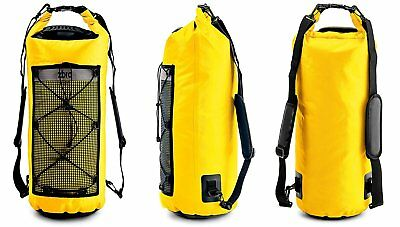 Waterproof Dry Bag 2 Pockets Padded Straps Reflective Stripe Water 30L Yellow