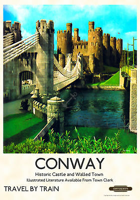 Vintage Railway Poster Conway Castle North Wales Train Advert ART PRINT A3 A4