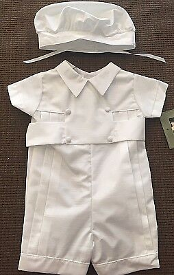 NWT Allie Wade Boys Christening Short Romper And Hat Size 6 Month