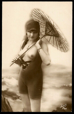 Nude French RPPC Real Photo Postcard Flapper Bathing Beauty w/ Parasol Luper