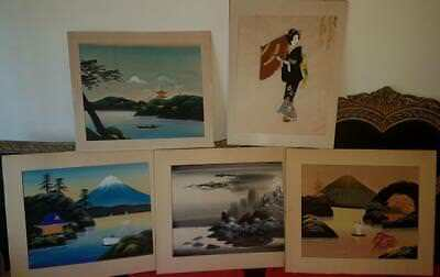 Old 19th Collection of 5 Japanese  Painting Antique Asian Art Japan signed