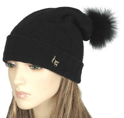New Blumarine Black Knit Wool Cashmere Blend Fox Fur Pom-Pom Beanie Hat One  Size 636727f8551d