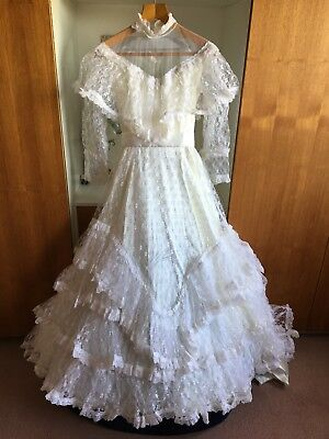 Off White Victorian Style Lace Wedding Dress