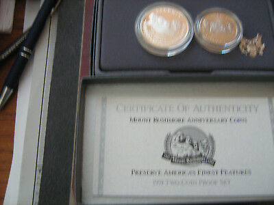 1991 Us Mint Mount Rushmore 2 Coin Proof Set   #zf