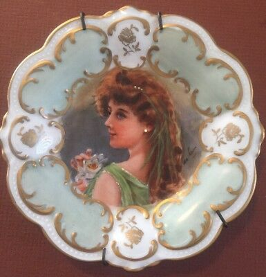 Late 1800's Victorian Era Hand Painted & Signed By Artist Plate. Bavaria, German