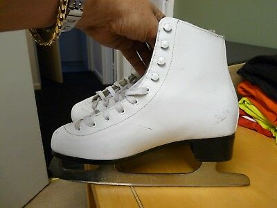 Girls White Spirit2 Size 6 Leather Ice Skating Boots - Gs Blades - Nice Cond'