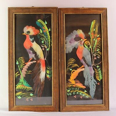 Vintage Mexican Feather Art Hand Painted Wood Frame Pair Lot of 2 Black Folk Art