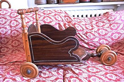 Vintage Wooden Treen Child Cart - Wooden Child Toy Cart - Child Toy Pushy Cart