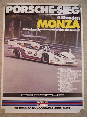 1976 Porsche 4 Hrs Monza Victory Showroom Advertising Sales Poster RARE! Awesome