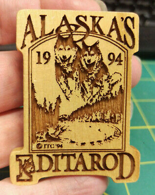 1994 Alaska Iditarod dog sled race, Wood laser engraved Pin, 1000 miles