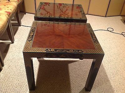 *PAIR* Drexel Heritage Chinoiserie Burl Wood Hand Painted End Tables Mint Condtn