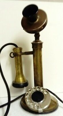 ANTIQUE 1920s BRASS & BAKELITE TELEPHONE NUMBER 12 FBR 65/2. DIAL WORKS WELL.