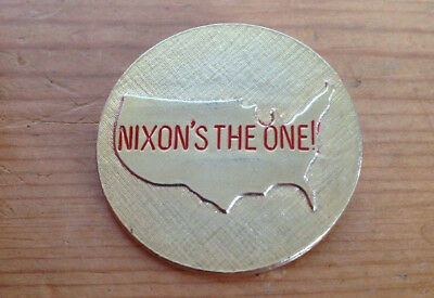 Vintage 1968 Nixons The One Brass US Presidential Campaign Elections Button