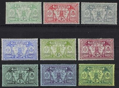 BR. NEW HEBRIDES 1911 #17-25, Set of 9 Mint Hinged MH (Lot10) (see description)