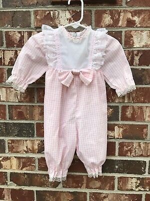 Vintage Bryan Romper Pink Lace Plaid Baby Girls 3/6/9 months