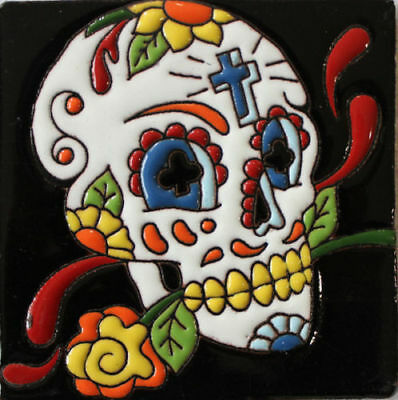 Mexican Tile Talavera Day of  the Death Skull  With Cross 4 x 4 ""