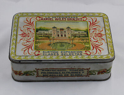 Vintage Box of Tin Assorted and Shortcakes the Antequerana 1929 Very Scarce