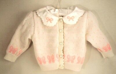 Retro Girls Spring Cardigan Sweater 100% Acrylic White Pink Baby Size 3-6 Months