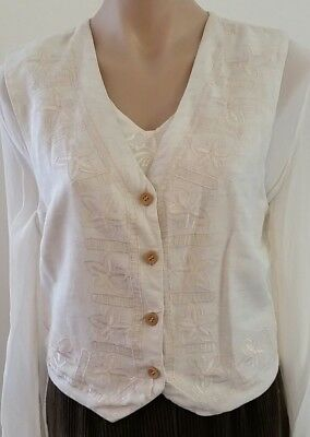 Vintage 80s RAAM Floral Embroidered CREAM Casual Boho Vest WAISTCOAT size S