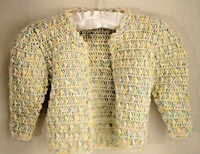 Vintage Handmade Knit Girls Spring Multi Color Acrylic Cardigan Sweater Size 2T