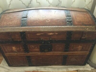 Vintage Dome Top Steam Trunk - Dated Nov 8, 1864.
