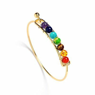 7 Chakra Healing Balance Braided Beaded Bangle Bracelet Lava Reiki Prayer Stones