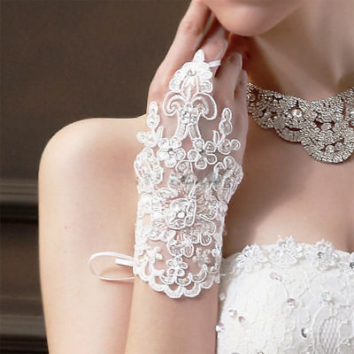 NEW Ivory Stylish Party Fingerless Lace Short Paragraph Bridal Wedding Gloves
