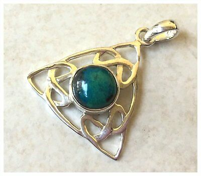 925 Sterling Silver CELTIC CHRYSOCOLLA Semi Precious Gemstone Pendant SD559D
