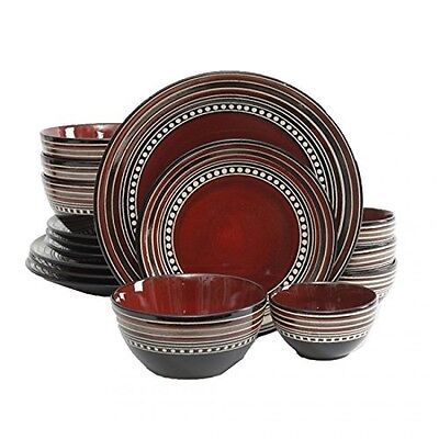GIBSON ELITE CAFE VERSAILLES 16 PIECE DOUBLE BOWL DISH DINNERWARE SET for 4 RED