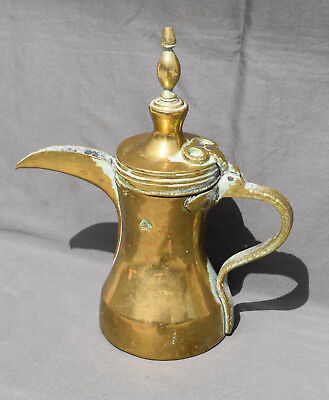 Antique Arabic Islamic Brass Copper Dallah Bedouin Coffee / Tea Pot