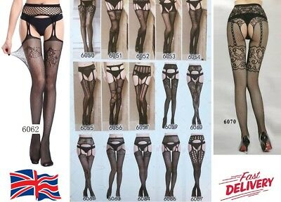 Fashion Designed Fishnet Crotchless Suspender Stockings Tights Garter Belt Socks