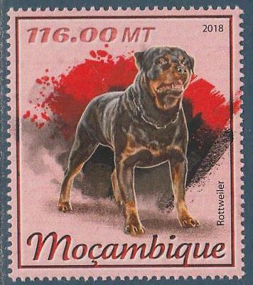 Rottweiler Dogs Mozambique MNH stamp 2018