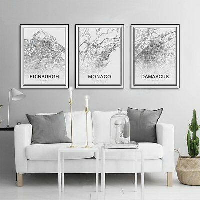 Framed World City Map London Paris New York Poster Home Deco Art Canvas Painting