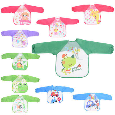 Baby Toddler Kids Long Sleeve Waterproof Feeding Art Apron Bib Smock Boy Girl HC