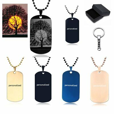 Stainless Steel Personalized Engraving Dog tag Pendant Photo Necklace Keychain