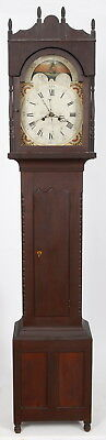 1830 Emanuel Meily Lebanon PA Cherry Tall Case Grandfather Clock 8 Day Sweep Sec