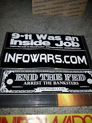 3 Infowars.com   Bumper Sticker White on Black  with camo hat