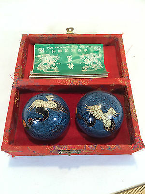 "Chinese Art Massage Tool ""Healthy Ball"", Bells Ball Swan/Hong & Dragon"