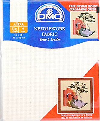 DMC NEEDLEWORK CROSS STITCH FABRIC AIDA ECRU 11 COUNT BEIGE 50cms x 75cm