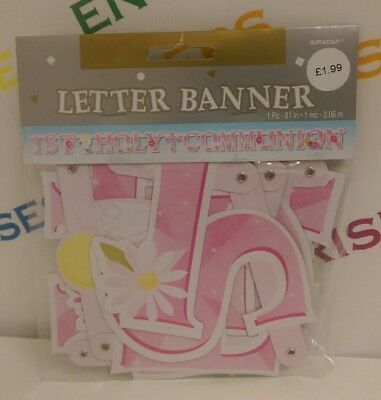 First 1st Holy Communion Letter Banner Party Decoration PINK - 1 or 3 for £3.99