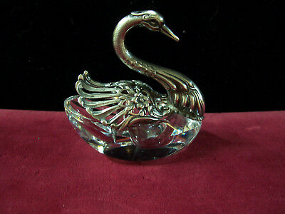Crystal & Sterling Silver Swan Double Salt Cellar-Made in England-c. 1920