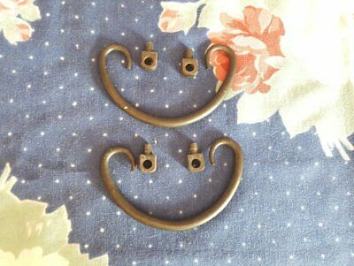 Pair of Black Curved Wrought Iron Swing Handles Drawer Pulls Antique Knobs Black
