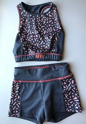 Girls Justice Dance Cheer Gymnastics Outfit Sports Bra Shorts Top Size 8