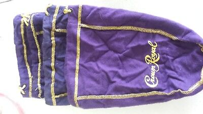 """Lot of 4 Crown Royal Velvet Bags with drawstrings 9"""" x 6.5"""""""